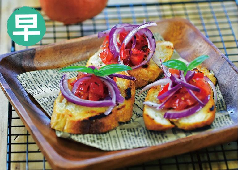 防疫飲食,防疫香辛料,防疫食材,番茄羅勒佐火烤大蒜麵包